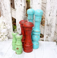 Shabby Chic Salt and Pepper Mill  by HuckleberryVntg on Etsy!  I want for my kitchen!