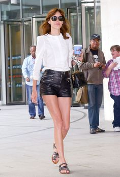 Alexa Chung in leather shorts
