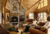 Rustic-living-room-design-rustic-pine-furniture-natural-stone-fireplace-leather-armchair