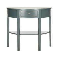Safavieh Abram Console Table ($127) ❤ liked on Polyvore featuring home, furniture, tables, accent tables, blue, safavieh console table, demilune console, semi circle console table, half circle console table and drawer shelf