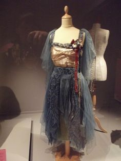 Evening dress 1916  This evening dress is made of light blue tulle (used in veils and ballet costumes) beaded gossamer.  As a result of the delicate fabric it was worn very rarely.   I love this dress because it remind me of one of those ballet costumes used in theatre.