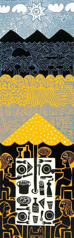 'Dinner Outside' by German-born Scotland-based artist & printmaker Hilke MacIntyre (b.1964). Linocut, edition of 35, 15 x 45 cm. via the artist's site