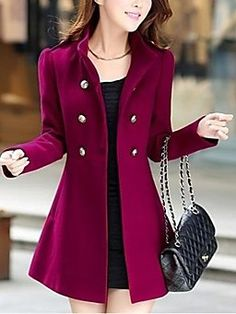 Casual Tweed Wool Coat