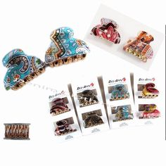 6pcs Small hair Snap clamp clip claw Print paisley barrette scallop up do Lot