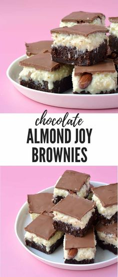 Deliciously fudgy Almond Joy Coconut Brownie Bars perfect for sharing Topped with creamy coconut roasted almonds and milk chocolate these gorgeous brownies are one decade. Chocolate Chip Cookies, Chocolate Brownies, Coconut Chocolate, Chocolate Desserts, Almond Joy Brownies, Almond Bars, Coconut Bars, Brownie Recipes, Dessert Recipes