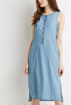 Pinstriped Chambray Midi Dress