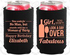30th Birthday, 30th Neoprene Birthday, 30 and Fabulous, Woman of Thirty, Neoprene Birthday Can Coolers (20150)