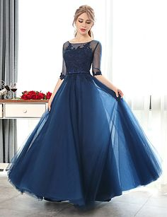 Formal Evening Dress A-line Scoop Floor-length Lace / Tulle with Lace 4910528 2016 – $89.99