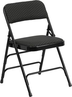 HERCULES Series Curved Triple Braced & Double Hinged Black Patterned Fabric Upholstered Metal Folding Chair