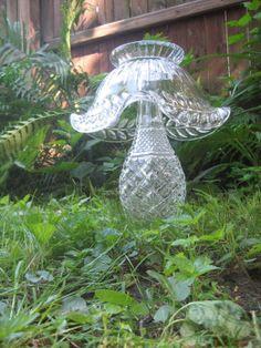 Unique Large Vintage Glass Mushroom/Toadstool Garden Art, Vintage Decanter and Antique Serving Bowl on Etsy, £37.68