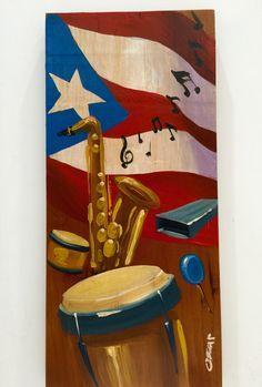 Artesanías de Puerto Rico, música y bandera de Puerto Rico al oleo sobre madera