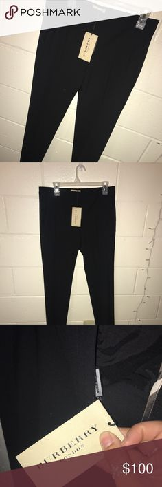 Burberry straight leg dress pants Never worn, black Burberry mid rise dress pants Burberry Pants Trousers