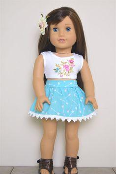 Light Blue Arrow skirt with trim American Girl by EliteDollWorld