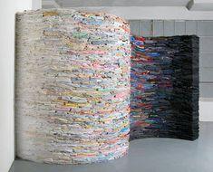 Sculptures made of second-hand clothing, by Derick Melander.