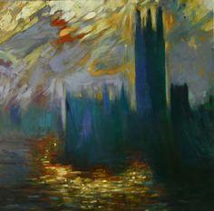 PARLEMENT DE LONDRES (d'après Monet) huile sur toile 90x90 cm