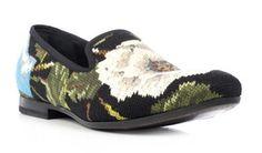 Alexander McQueen Men's Cross-Stitch Flower Loafers   UpscaleHype