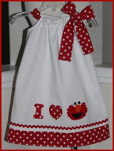 I Love Elmo Applique Pillowcase Style dress-elmo,applique ,dress,girl,pillowcase style,birthday,clothing,polka dot,cotton,hand made,boutique,cuctom, baby,infant,toddler