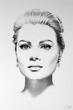 """Grace Kelly"" - Ileana Hunter, pencil {contemporary art beautiful female celebrity actress princess woman face portrait drawing}"