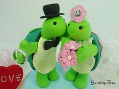 Customise Kissing Turtle Love Wedding Cake Topper with Beautiful Stand via Etsy