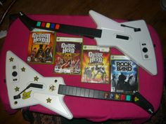 XBOX-360-Wired-XPLORER-2-GUITAR-Hero-BUNDLE-w-4-Games-LEGENDS-WORLD-TOUR-Smith #guitarhero #xbox360 #videogamebundle #stockingstuffers #rockband #videogames #ebaydeals #bundle