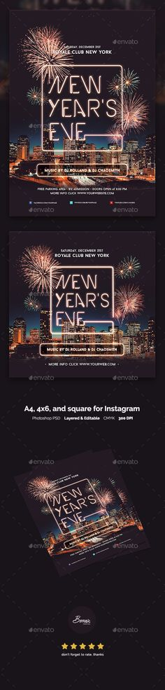 New Years Eve Flyer Template — Photoshop PSD #city #club • Available here → https://graphicriver.net/item/new-years-eve-flyer-template/19071303?ref=pxcr