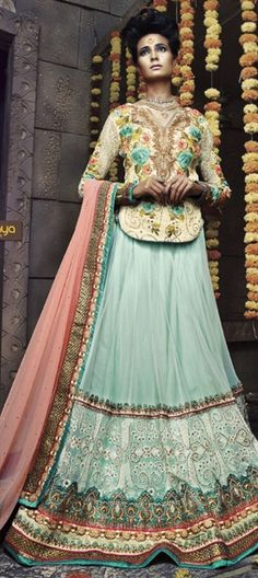#Pastel fro summers -   Shop bridal wear at upto 50% off + free shipping worldwide  #lehenga #babyblue #Embroidery #bride #wedding #indianwedding