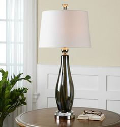Belinus, Gray Glass Table Lamp by Billy Moon