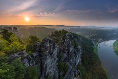 Saxon rocks - Beautiful sunrise at the Bastei