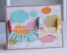 Happy Birthday Banner Card by Betsy Veldman for Papertrey Ink (June 2012)