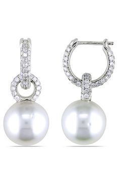 Tahitian Pearl White South Sea Pearl & Diamond Earrings In 14k White Gold - Beyond the Rack  $2199.99