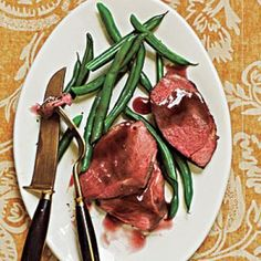Roast lamb with pomegranate sauce. Although it's budget-friendly, this dish is elegant enough for company. Serve with steamed fresh green beans. Cooking Light Recipes, Cooking On A Budget, Lamb Recipes, Sauce Recipes, Entree Recipes, Party Recipes, Steak Recipes, Pomegranate Sauce, Pomegranate Recipes