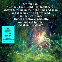 affirmation love light inteligence the heart to be happy
