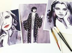 On my desk ✨ the ink Ladies #inksketch #mashasedgwick #anamorodan #beauty #montblanc #ink #mystery #black #paintings #sketches #sketching #fashionsketch #fashionillustration #fashionsketc #fashiondesigner #blueeyes #skizze #zeichnung #artwork #portraitdrawing #graphic #inabill #ina_bill