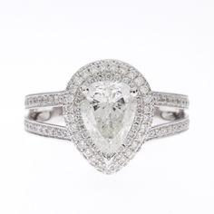 14K Halo Pave Diamond Ring