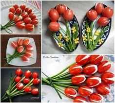 Tomate cereja recheada com ricota/cream cheese/minas : gostoso de olhar e comer