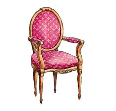 Louis Vuitton Chair, Pink Watercolor Illustration Wall Decor