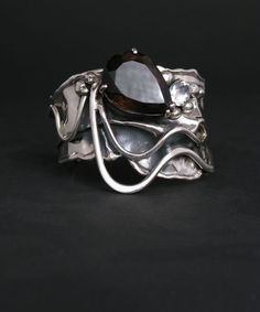 Cuff by Donald Marksz. Amazing and unique jewelry sterling silver and Smoky Quartz Modern Jewelry, Jewelry Art, Jewelry Rings, Fine Jewelry, Jewelry Armoire, Unique Jewelry, Metal Clay Rings, Metal Clay Jewelry, Sterling Silver Bracelets