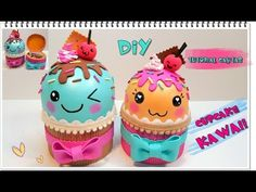 DIY cajitas con forma de cupcake kawaii | Manualidades