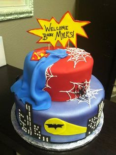 just because I love this cake! Superman Baby Shower, Marvel Baby Shower, Superhero Baby Shower, Superhero Cake, Jordan Baby Shower, Baby Boy Shower, Baby Showers, Baby Shower Cakes, Baby Shower Themes