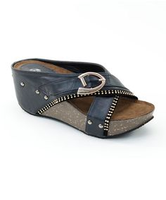 Look what I found on #zulily! Black Buckle Wedge #zulilyfinds