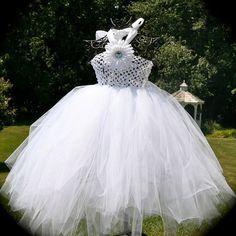Custom Boutique White Tulle  Tutu Flower Girls Wedding Bridal Dress. Great for Babies, Toddlers, & Girls