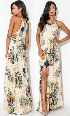 Beige Flowers Belt Thigh High Side Slits Fashion Maxi Dress