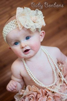 Vintage Lace Bow Clip HairbandWedding  Flower Girl by Babybonbons, $28.00  Newborn gift, baby shower gift