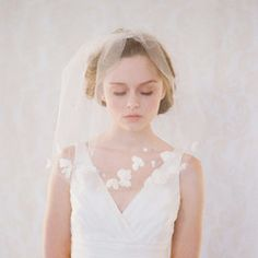 Petals soft blusher veil - Style #140 - Ready to Ship (If I have to have a veil, I like this one)
