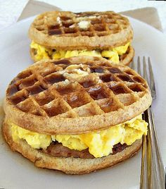 Breakfast Griddle Recipe Inspired by Paula Deen..... Use whole wheat eggos and turkey sausage to lighten the recipe.