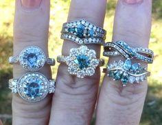 blue moissanite rings