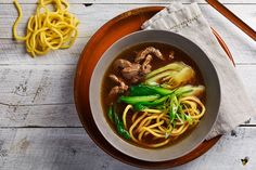 Fuel up with a wholesome beef and noodle soup, with juicy rump steak and delicate bok choy.