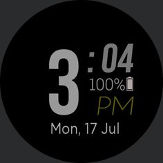 simple digital black - WatchMaker for Android Wear, iPhone, Samsung Gear S2 & S3, Huawei, Moto 360, LG G Series!