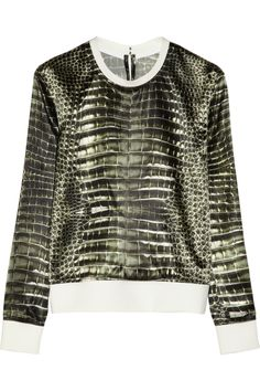Reed Krakoff Alligator-print satin sweatshirt NET-A-PORTER.COM