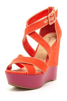 Coral Colorblock Wedges